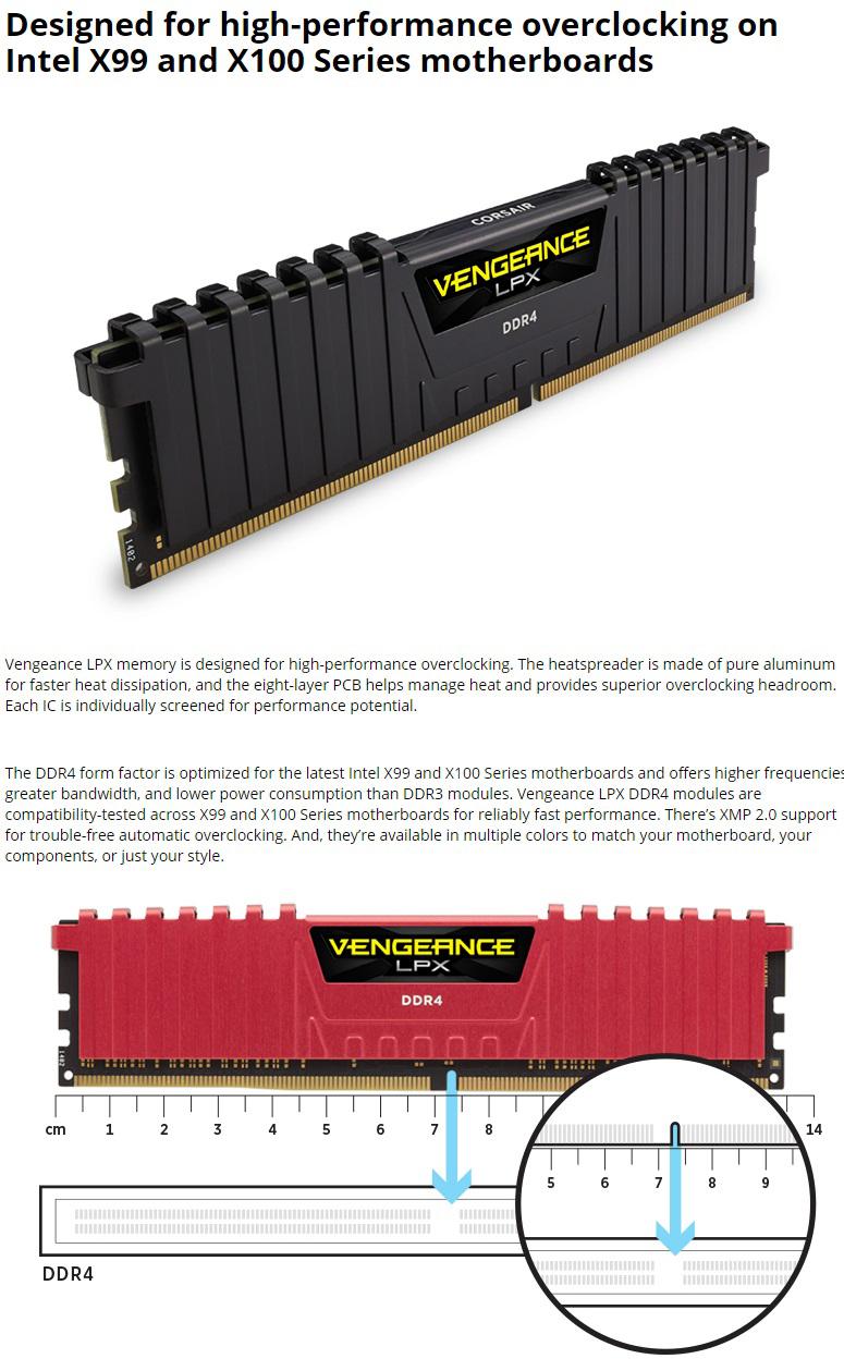 Corsair 8GB (2x4GB) CMK8GX4M2B3000C15 DDR4 3000MHz Vengeance LPX DIMM Black