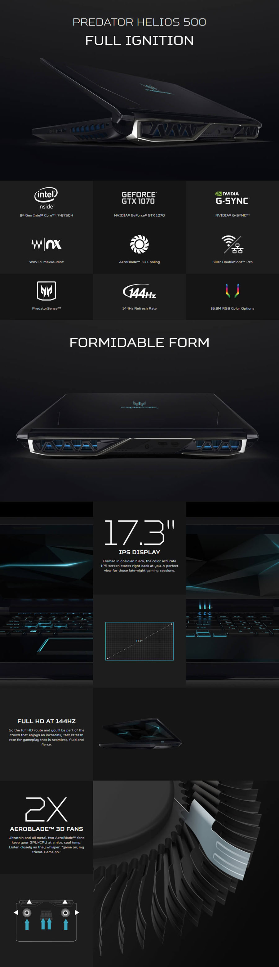 Acer Predator Helios 500 17 3in FHD IPS 144Hz i7 8750H GTX 1070 256GB SSD +  2TB HDD Gaming Laptop (PH517-51-720B)