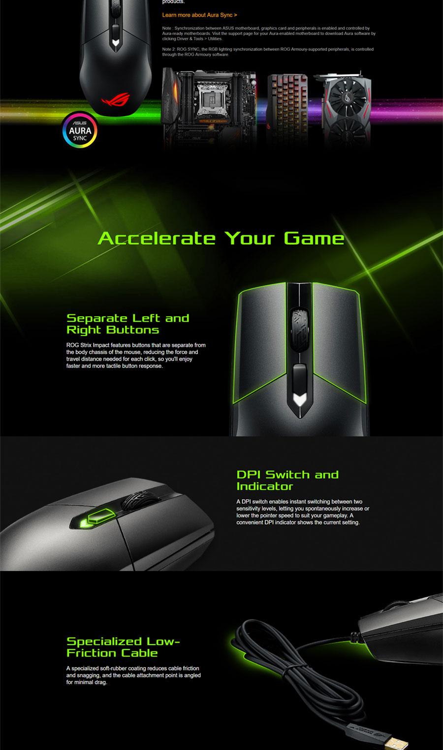 Asus P303-ROG-STRIX-IMPACT P303 ROG Strix Impact RGB Gaming Mouse, 5000  DPI, 130 IPS, 2 Meter Rub