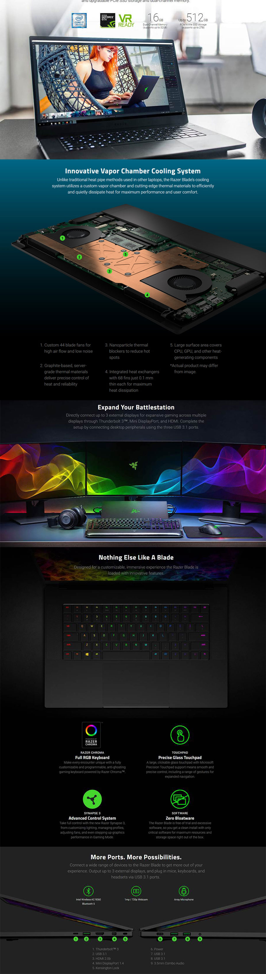 Razer Blade 15 6in FHD 144Hz i7 8750H GTX 1070 512G SSD Gaming Laptop  (RZ09-02386E92-R3B1)