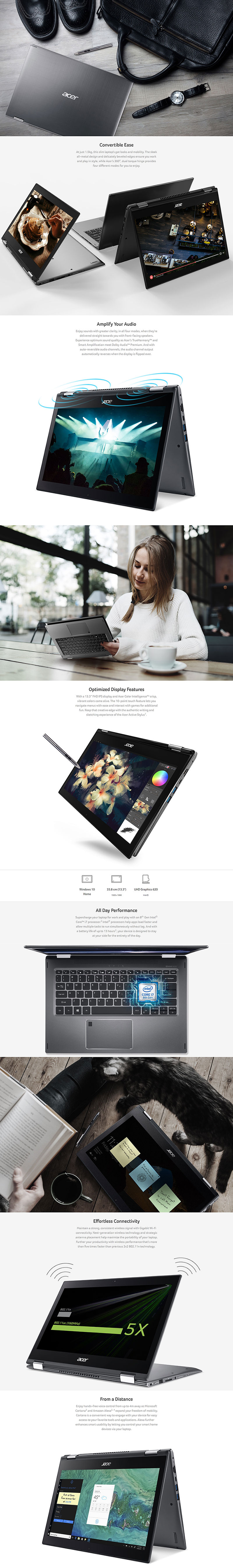 Acer Spin 5 13.3in FHD Touch i5 8250U 256GB SSD 8GB RAM W10H 2-1 Laptop (SP513-52N-58E1)