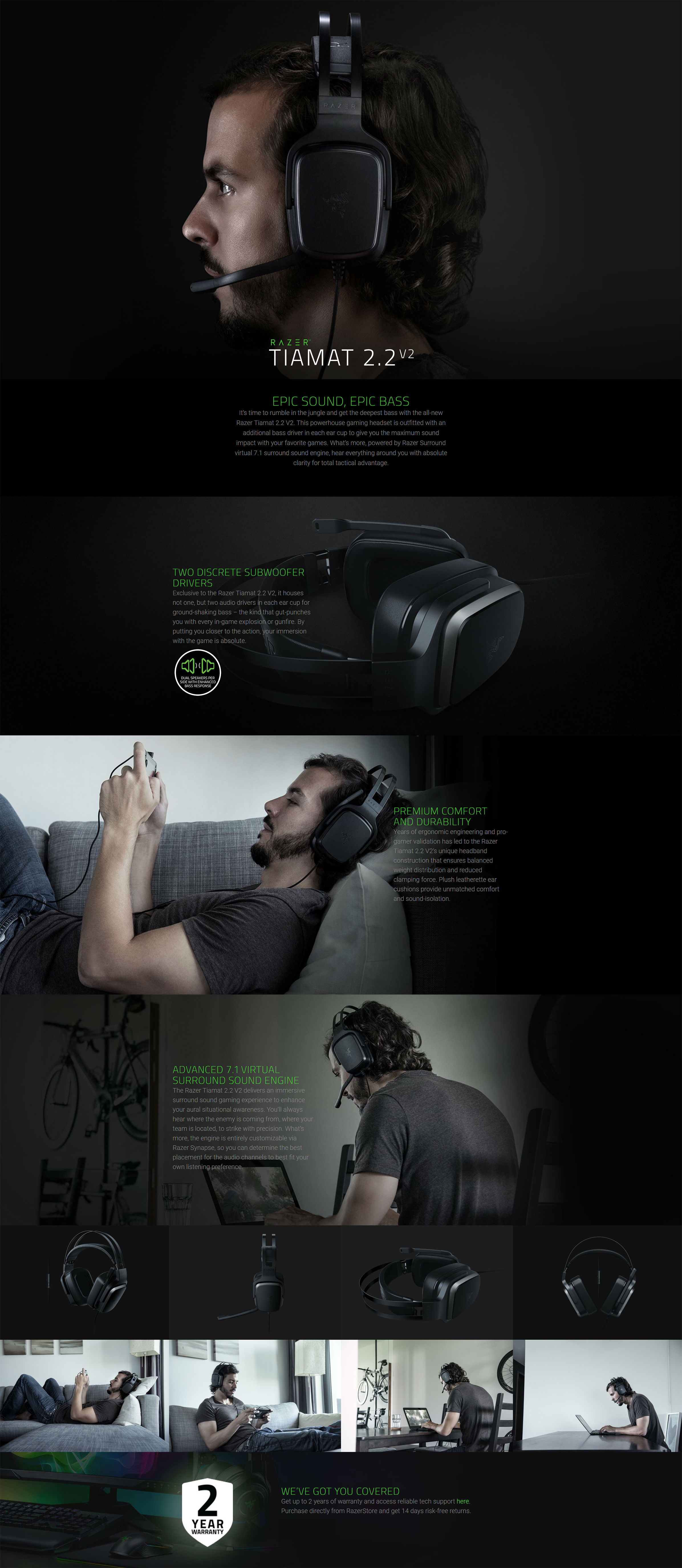 Razer Tiamat 2 2 V2 - Analog Gaming Headset