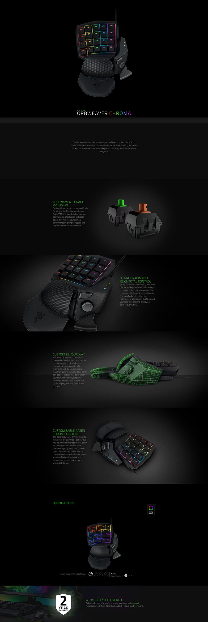 Razer Orbweaver Elite Chroma RGB Mechanical Gaming Keypad