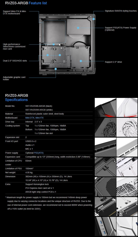 Silverstone Raven RVZ03B ARGB ITX Case - Black
