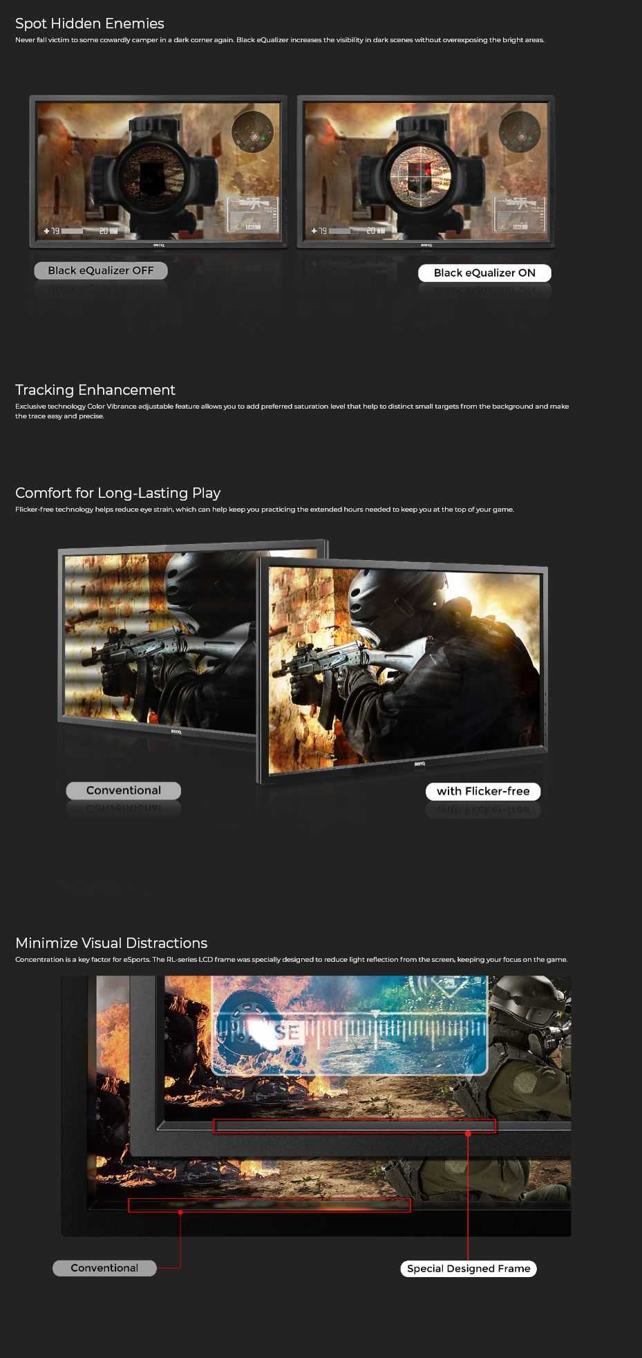 BenQ Zowie 27in FHD LED LCD Console e-Sports Gaming Monitor (RL2755)