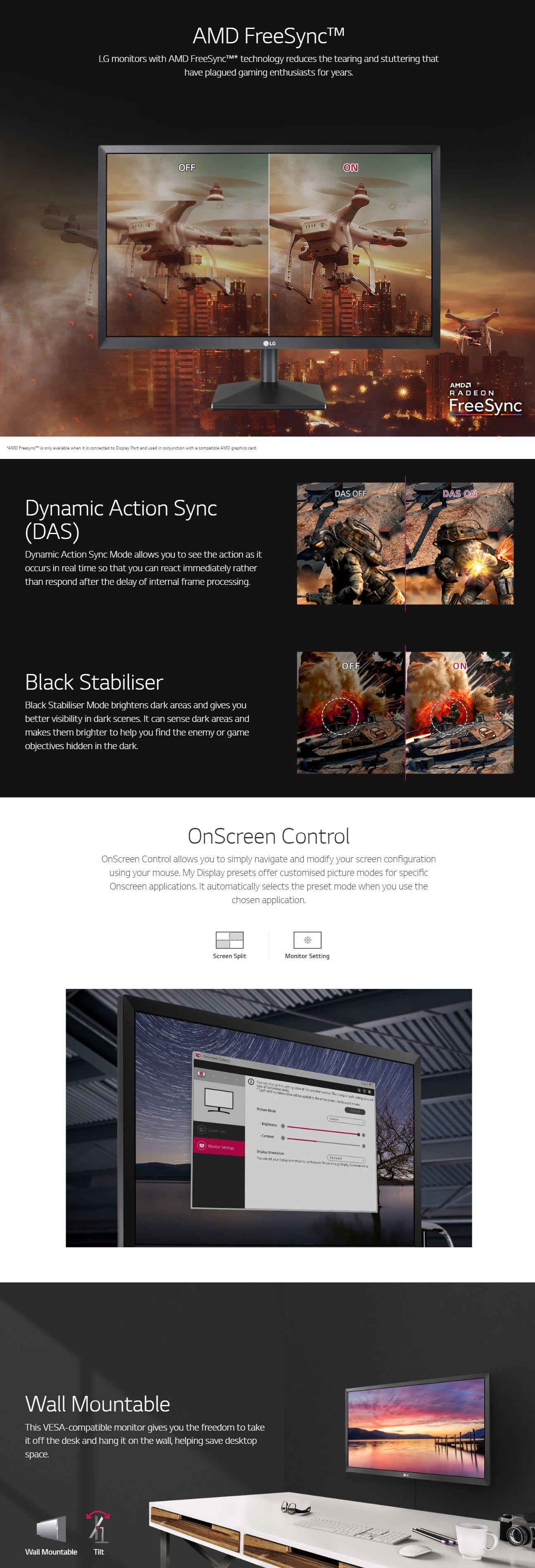 LG 22in FHD 75Hz FreeSync Monitor (22MK400H)