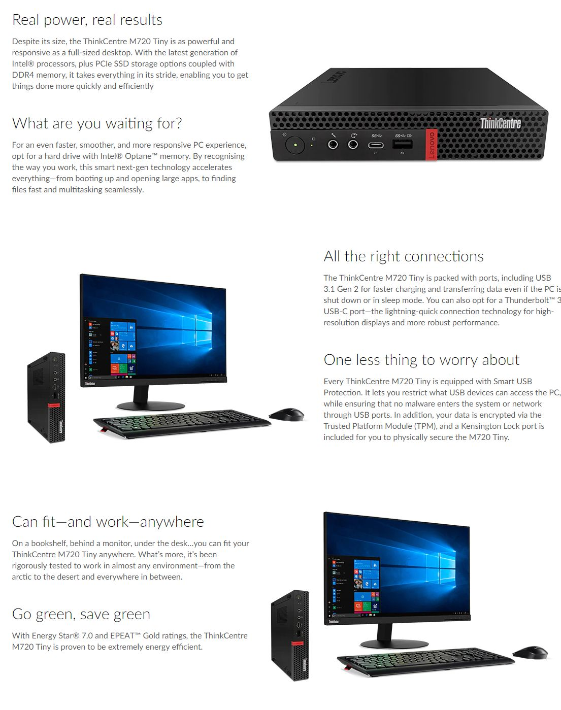 Lenovo ThinkCentre M720 Tiny i7-8700T 16GB DDR4 256GB SSD Wifi+BT KB/Mouse  W10 Pro
