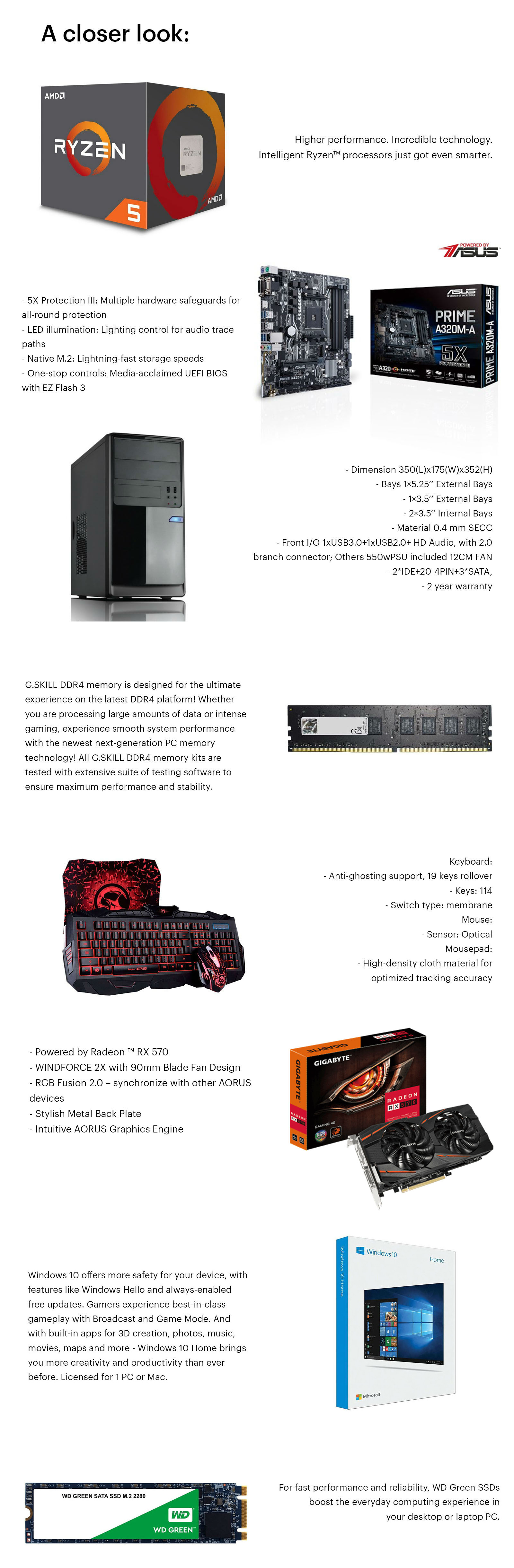 Umart Pluto Ryzen5 RX 570 Gaming PC 2019 V2 with Keyboard and Mouse Combo