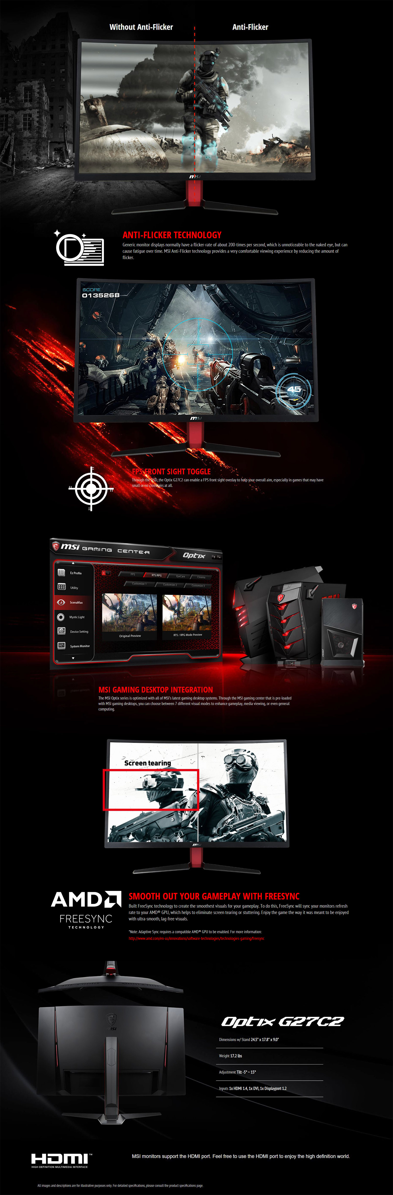MSI Optix 27in FHD 144Hz LCD Curved Gaming Monitor (G27C2)