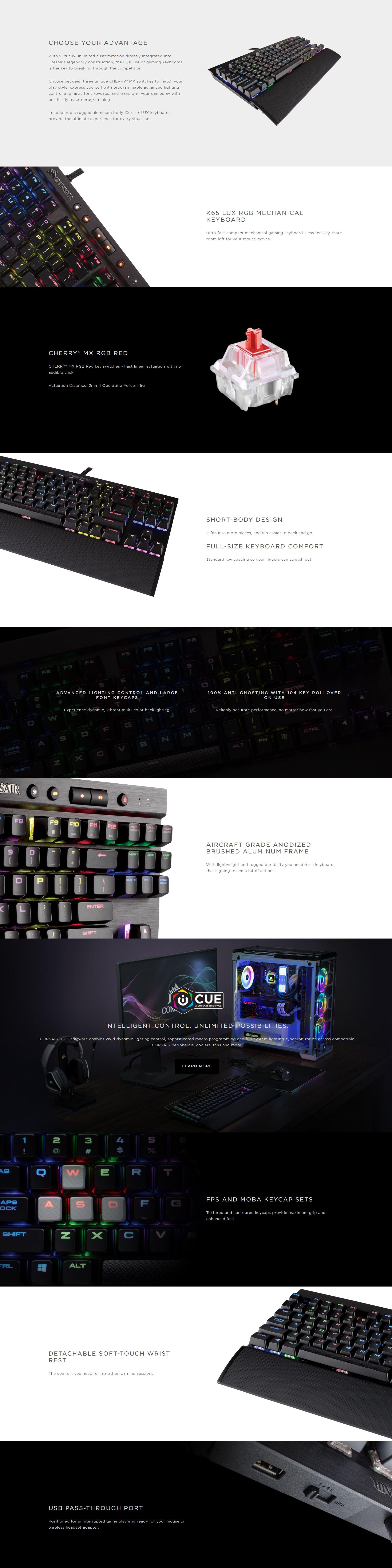 Corsair Gaming K65 LUX RGB Cherry MX Red