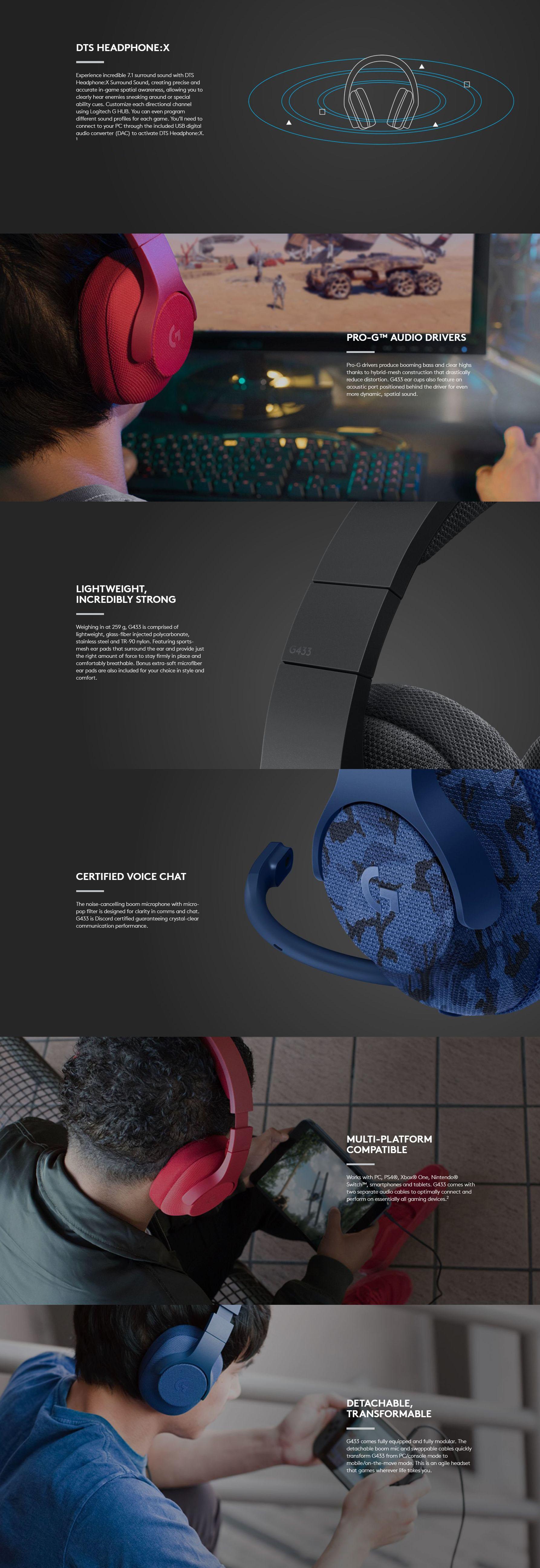 Logitech G433 7 1 Gaming Headset - Black