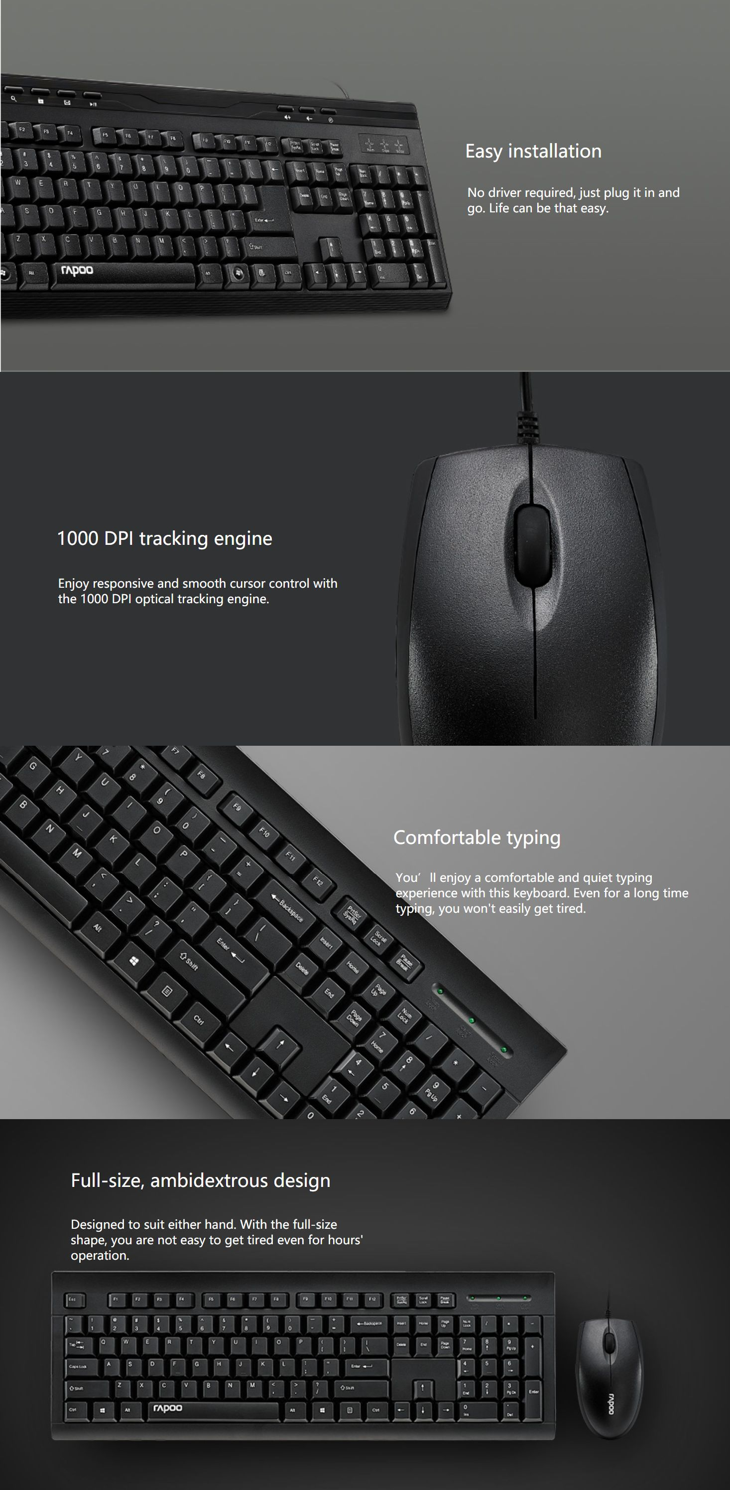 Rapoo NX1710 Wired Keyboard Mouse combo Black