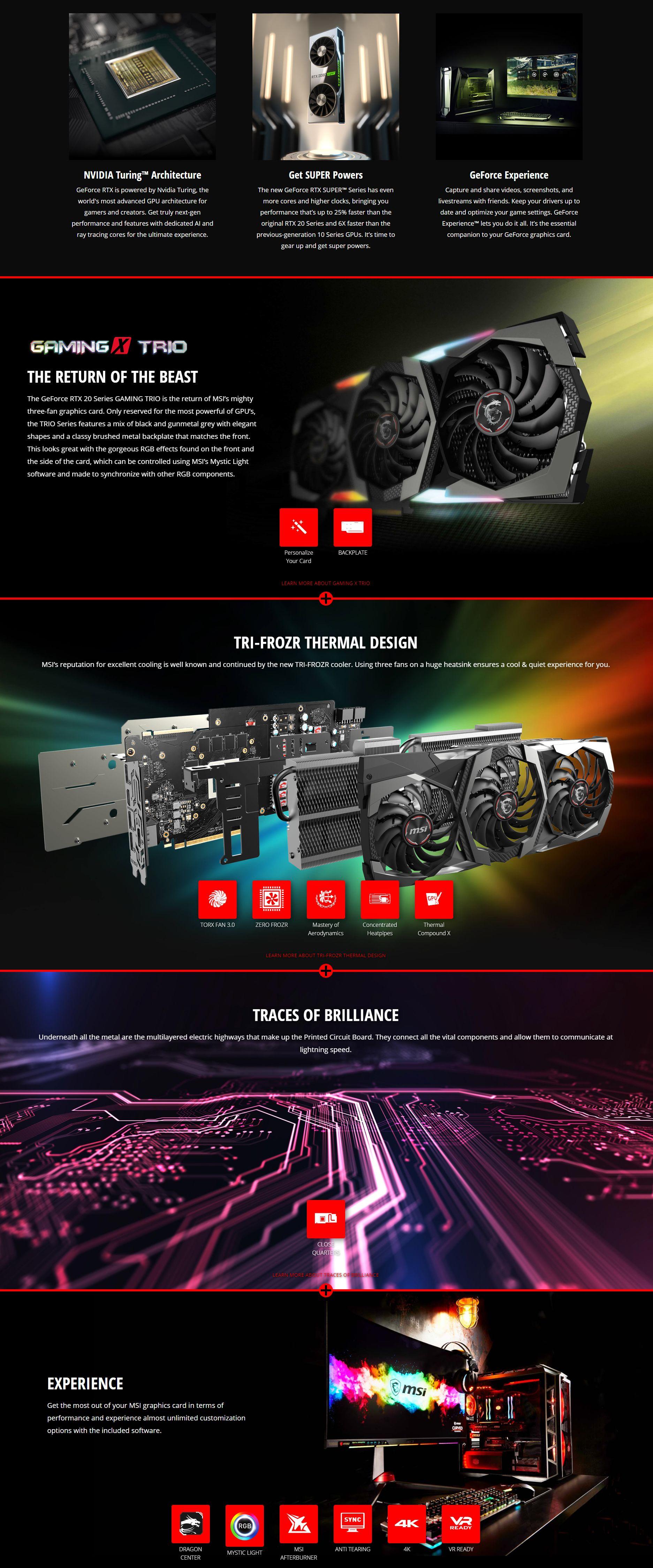 MSI Geforce RTX 2070 Super Gaming X Trio 8G Graphics Card