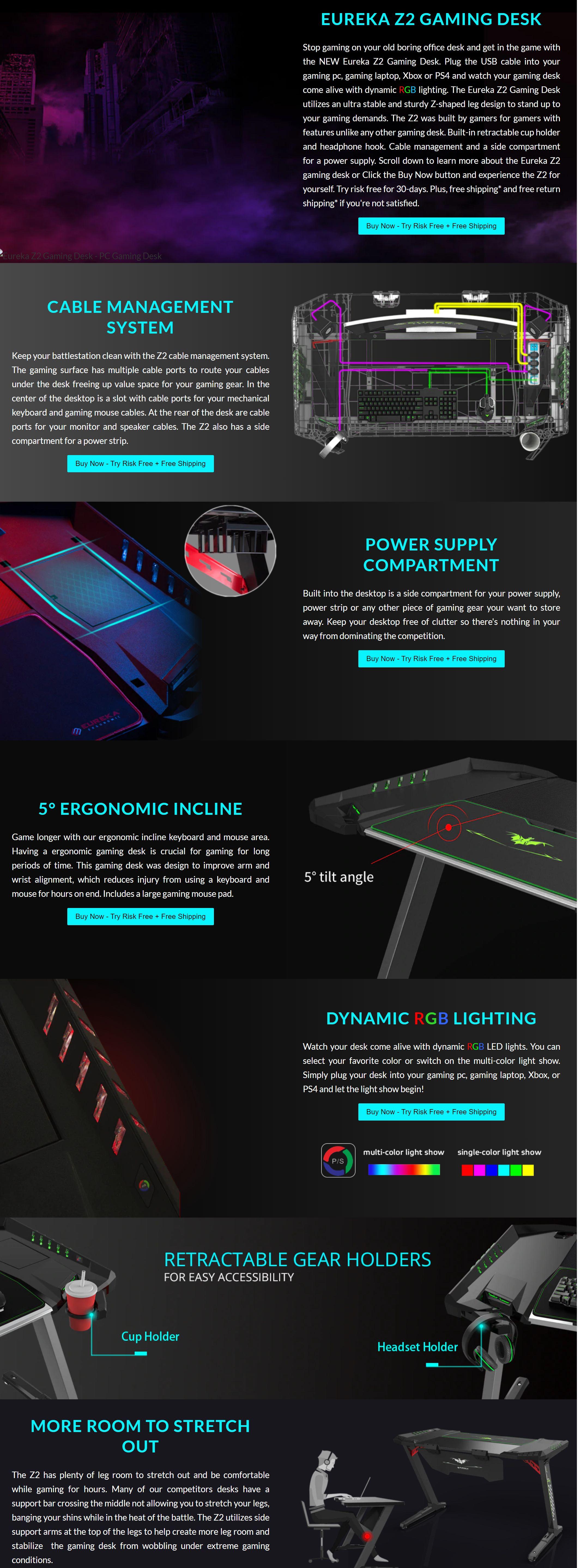 #1726 - 'Z2 PC Gaming Desk With LED Lights - Retractable Cup Holder & Headset Hook' - eurekaergonomic_com.jpg