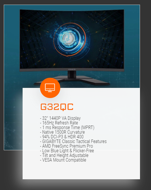 Gigabyte 31.5in QHD VA 165Hz FreeSync Curved Gaming Monitor (G32QC)