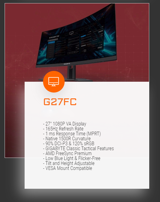 Gigabyte 27in FHD 165Hz Freesync Curved Gaming Monitor (G27FC)