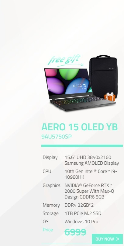 Gigabyte Aero 15.6in UHD OLED i9-10980HK RTX2080 Super 1TB M.2 SSD Gaming Laptop (YB-9AU5750SP)