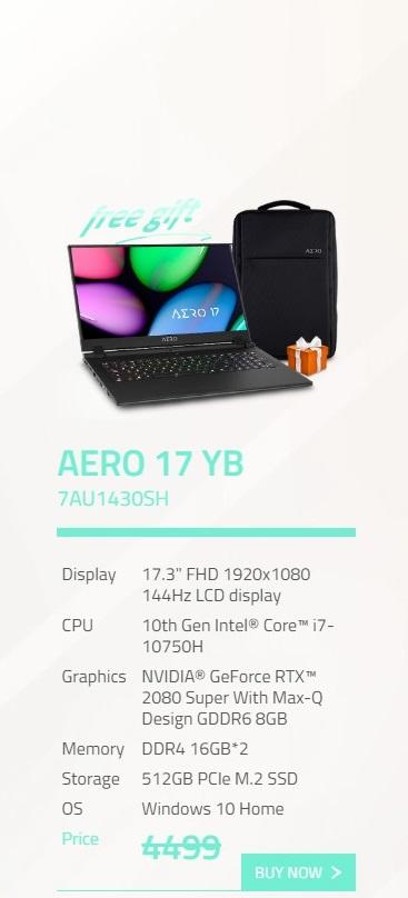 Gigabyte Aero 17.3in FHD 144Hz i7-10750H RTX2080 Super 512GB SSD Gaming Laptop (AERO 17 YB-7AU1430SH)