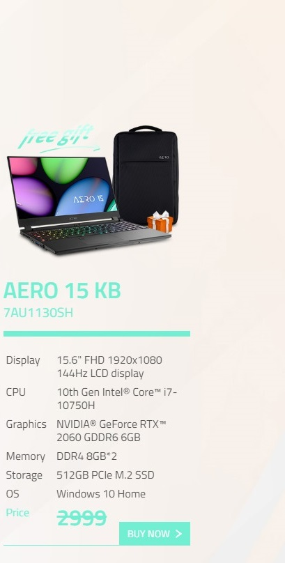 Gigabyte Aero 15.6in FHD 144Hz i7-10750H RTX2060 512GB SSD Gaming Laptop (AERO15-KB-7AU1130SH)