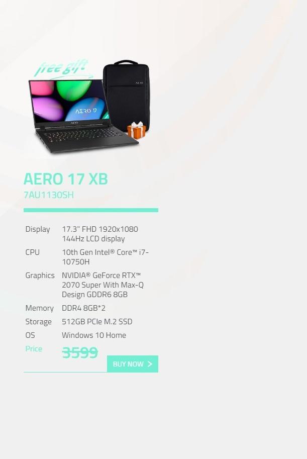 Gigabyte Aero 17.3in FHD 144Hz i7-10750H RTX2070 Super 512GB SSD Gaming Laptop (AERO 17 XB-7AU1130SH)