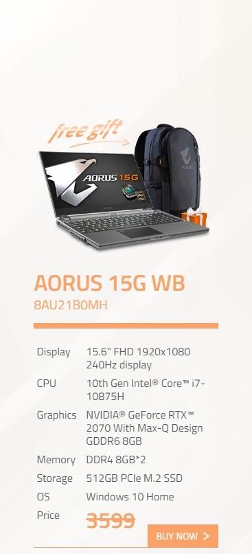 Gigabyte Aorus 15G 15.6in FHD 240Hz i7 10875H RTX2070 512GB SSD Gaming Laptop (AORUS-15G-WB-8AU21B0MH)