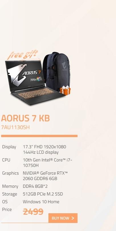 Gigabyte Aorus 7 17.3in FHD 144Hz i7 10750H RTX2060 512GB SSD Gaming Laptop (AORUS-7-KB-7AU1130SH)