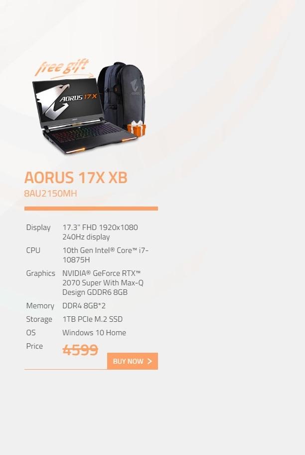 Gigabyte Aorus 17X 17.3in FHD 240Hz i7 10875H RTX2070 Super 1TB SSD Gaming Laptop (AORUS-17X-XB-8AU2150MH)