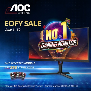 Buy Select AOC Monitors And Redeem $50 Steam Gift Card!