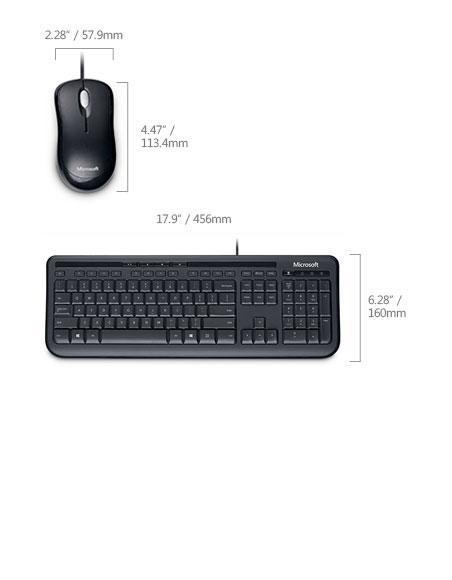Microsoft Wired Desktop 600 Black USB Keyboard