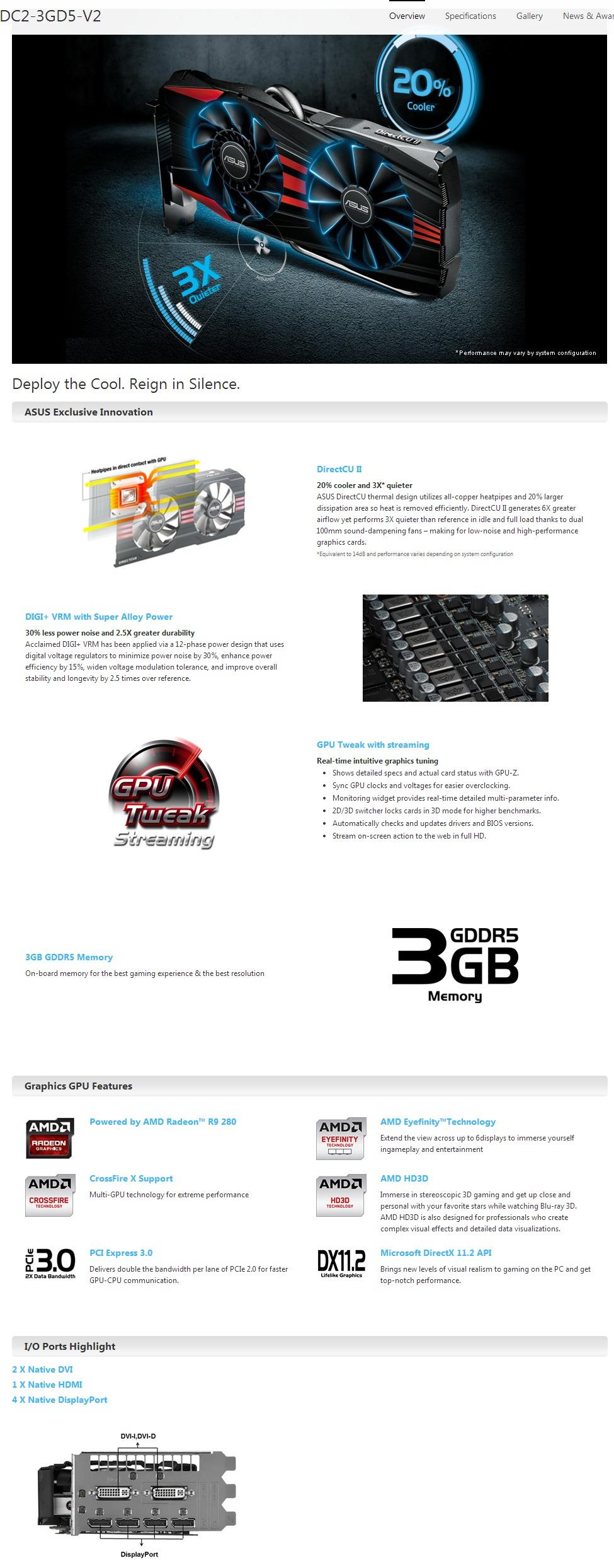 ASUS R9 280X DC 2 V2 PCI-E 3 0 3GB GDDR5, 2 x DVI/ 4 x DP/ HDMI, DX11 - 6  Monitors supporte
