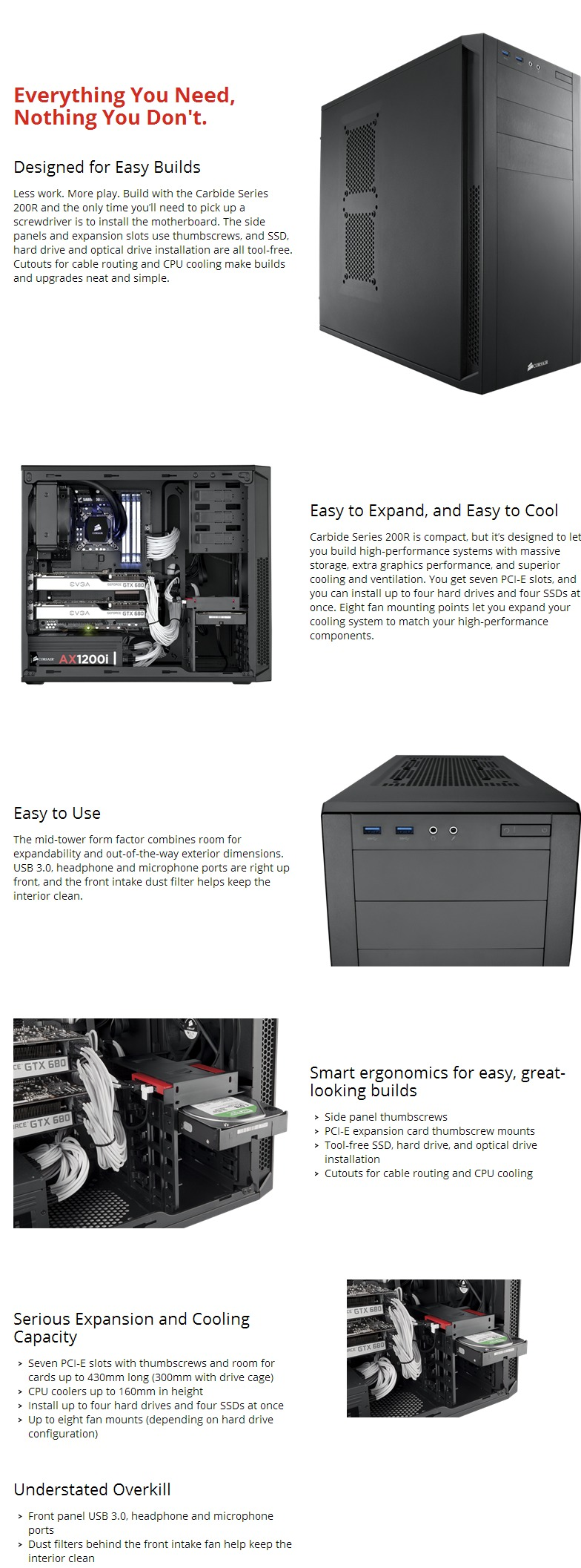 Corsair Carbide Series 200R Compact ATX Case with Window, A compact,  builder-friendly case designed