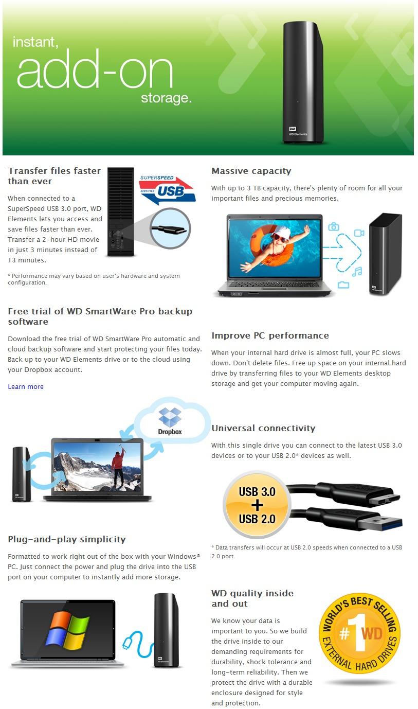 Western Digital Elements Desktop 3TB USB 3 0 External Black