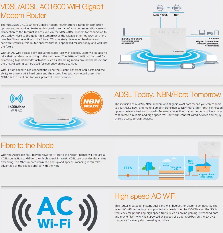 Netcomm Nf8ac Vdsl Adsl Ac1600 Wifi Modem Wiring Diagram