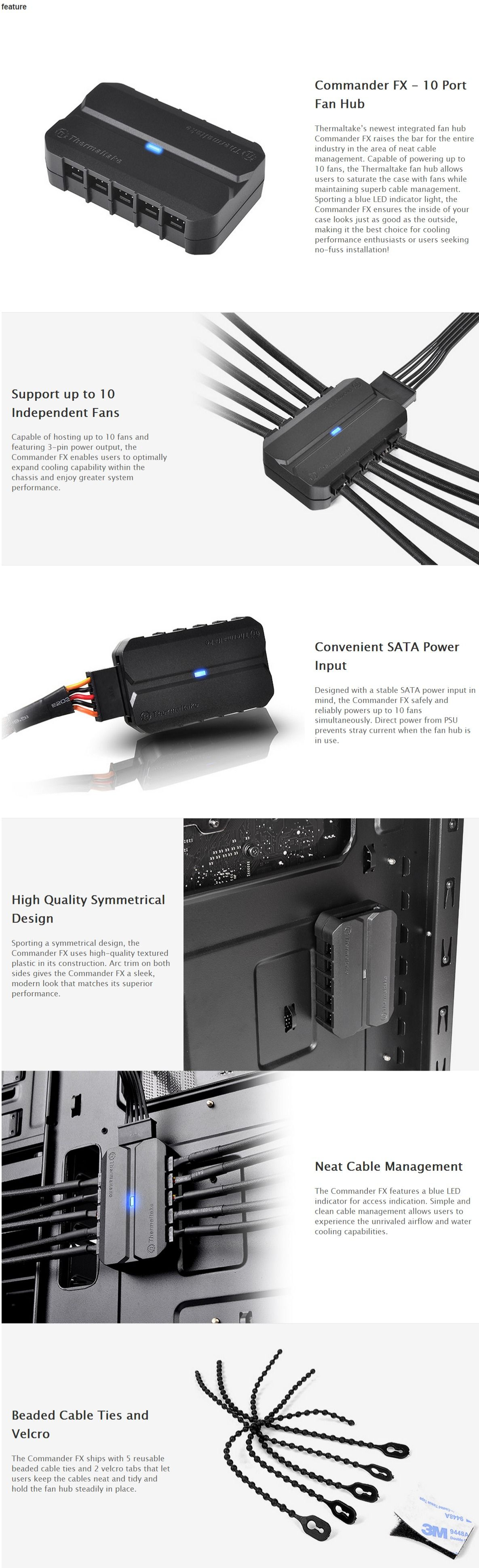Thermaltake Commander Fx 10 Way 3pin Fan Power Splitter Pin To Connector For Cpu Or System Oem Pack