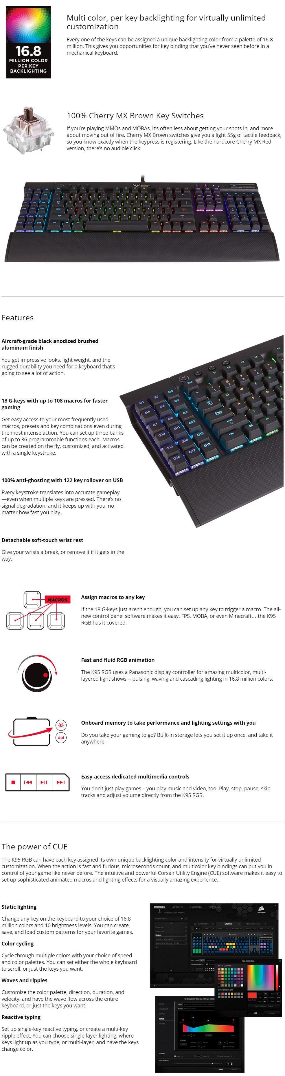Corsair Gaming K95 RGB LED Mechanical Gaming Keyboard - Cherry BROWN,  Multicolor per Key Backli
