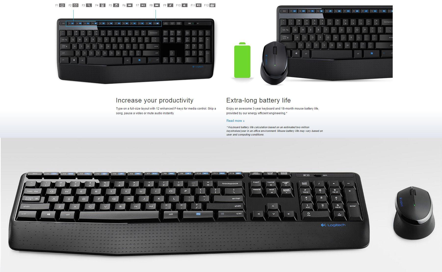 Logitech Mk345 Wireless Combo Keyboard Mouse Mk240