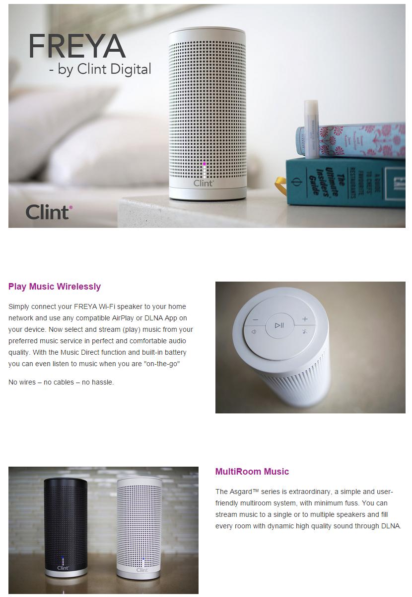 Clint Asgard Freya Wifi Speaker Grey Wiring Multi Room System