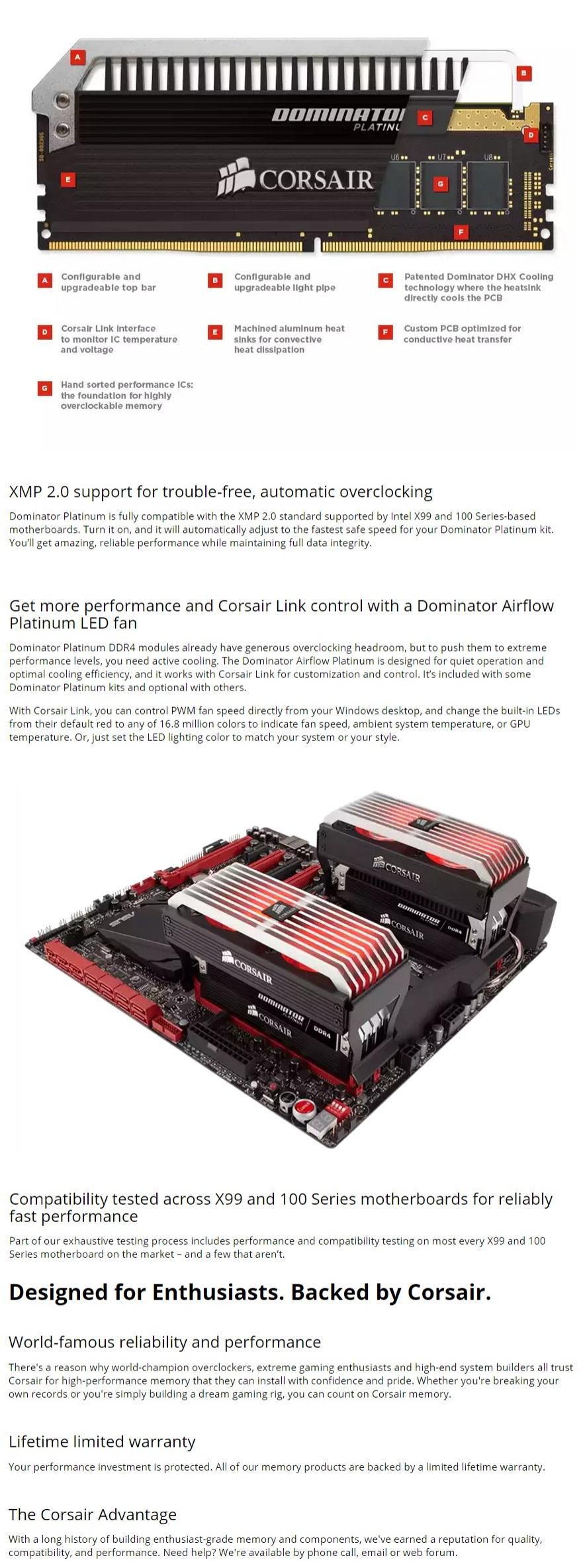 Corsair 16GB (2x8GB) CMD16GX4M2B3000C15 DDR4 3000MHz DOMINATOR PLATINUM 6th  Gen DIMM 15-17-17-35