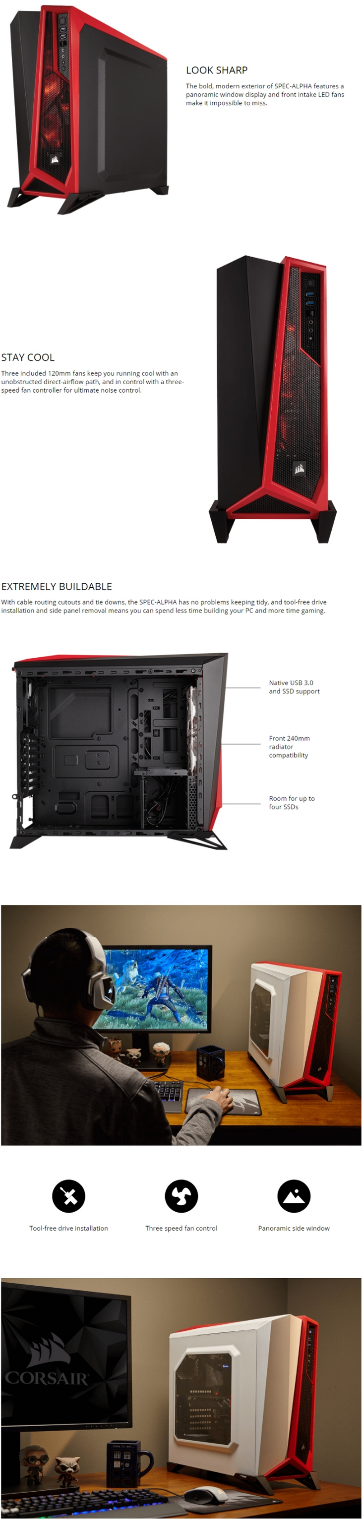 separation shoes 4e4b9 49dfa Corsair Carbide Series SPEC-ALPHA Black & Red Mid-Tower Gaming Case