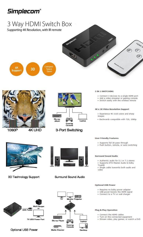 Simplecom Cm301 Ultra Hd 4k 1080p 3 Way Hdmi Switch With Ir Remote Video Box