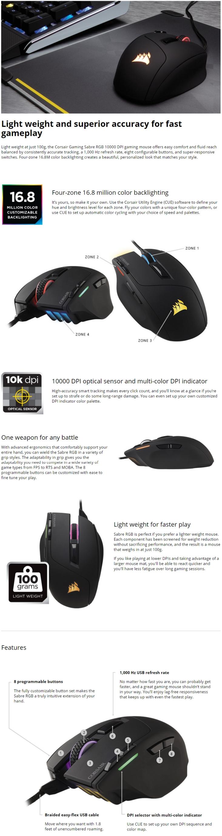 fcbc0df2334 Corsair Gaming Sabre RGB Gaming Mouse - Umart.com.au