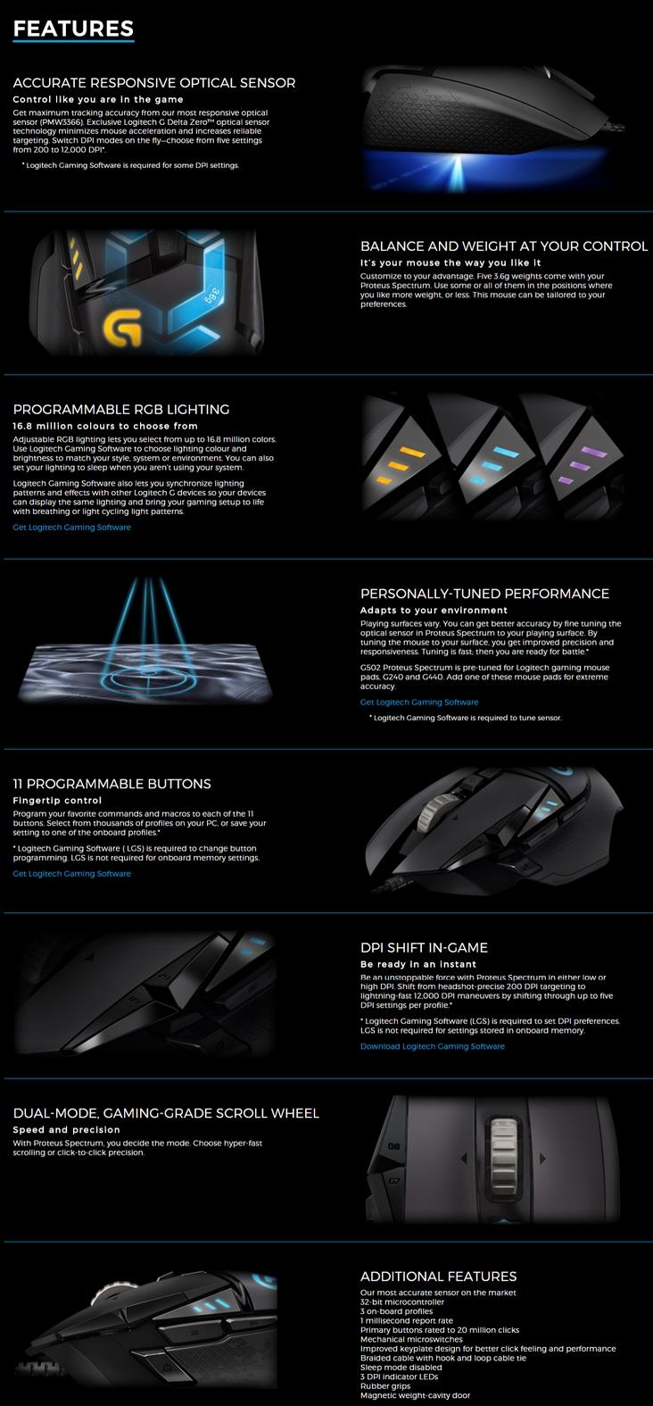 Logitech G502 Proteus Spectrum RGB Gaming Mouse