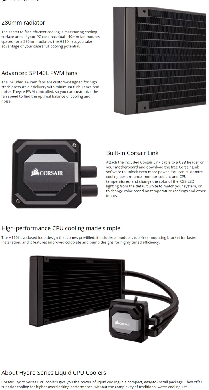 Corsair Hydro Series H110i Extreme Performance Liquid Cpu Cooler Casing Dvd Gt Pro 6 Mm Single Double