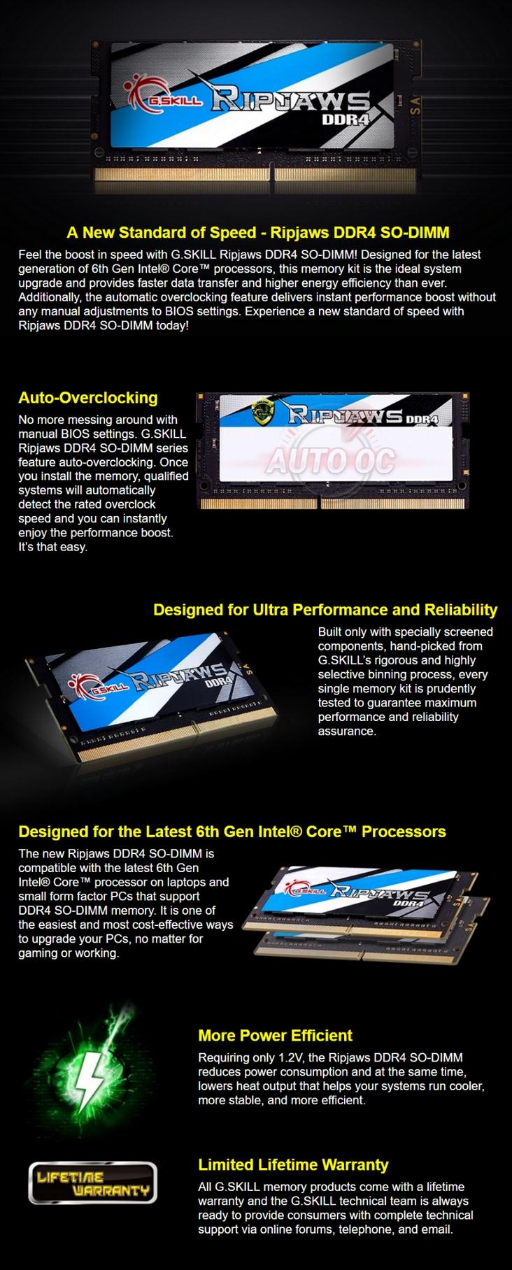 G Skill DDR4-2666 16Gb Single Channel Ripjaws F4-2666C18S-16GRS SODIMM