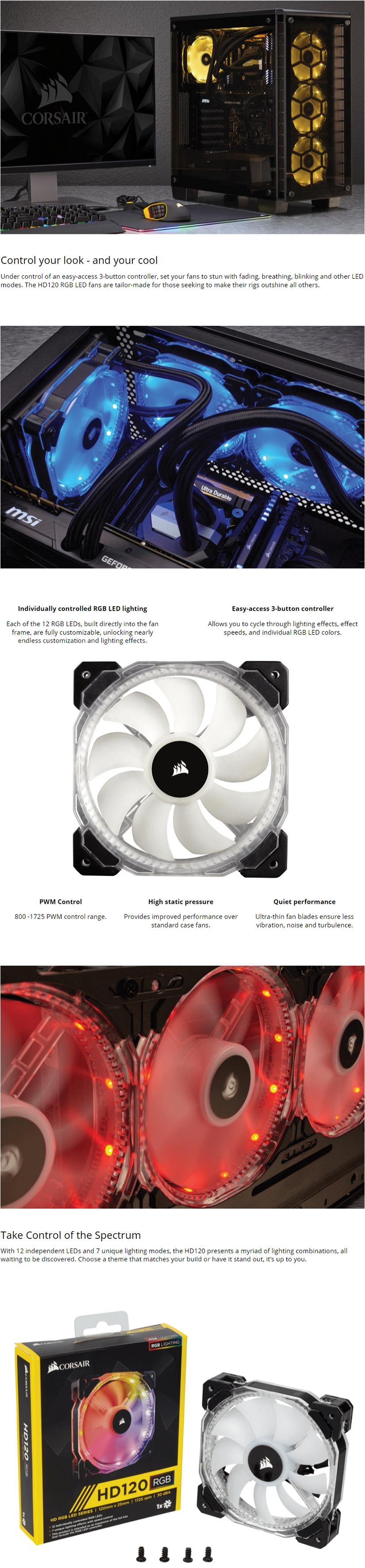 Corsair HD Series HD120 RGB Individually Addressable LED Static Pressure  Fan no Controller