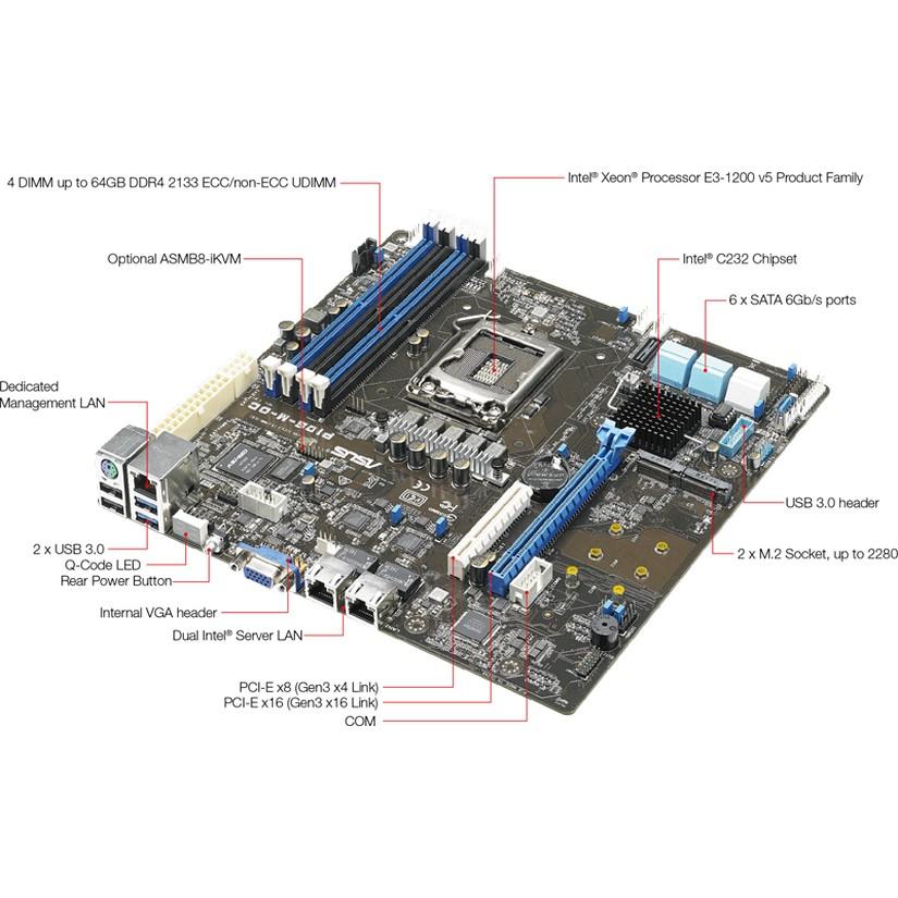 ASUS P10S-M-DC LGA 1151 mATX Server Motherboard
