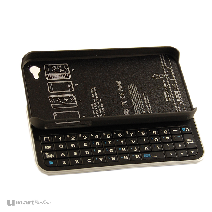 buy online f9c71 ff9c0 Bluetooth Slide Keyboard Case For iPhone 4 - Black (502821B)