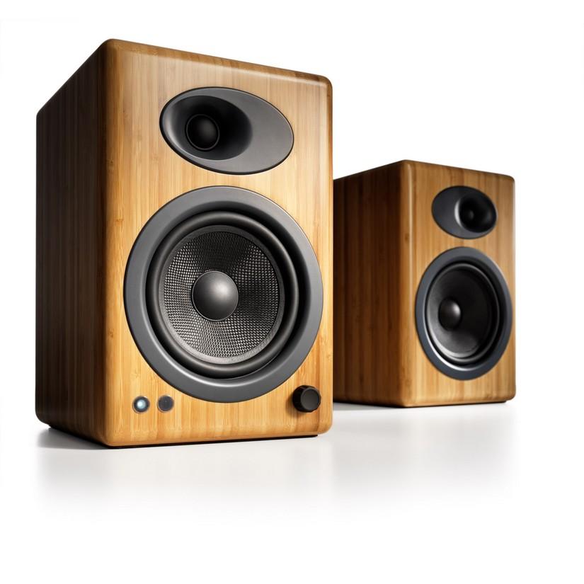 Audioengine 5 Powered Bookshelf Speakers Pair Solid Bamboo