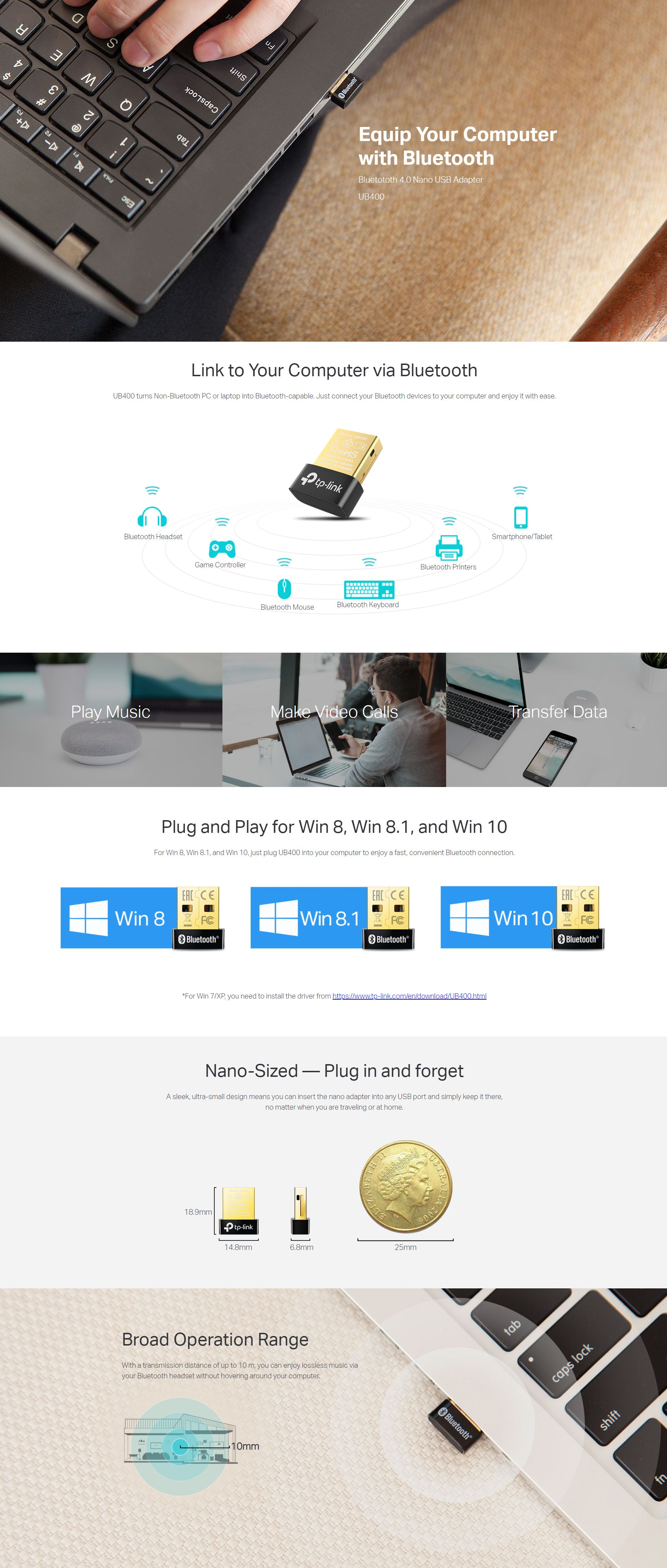 TP-Link Bluetooth 4 0 Nano USB Adapter (UB400)