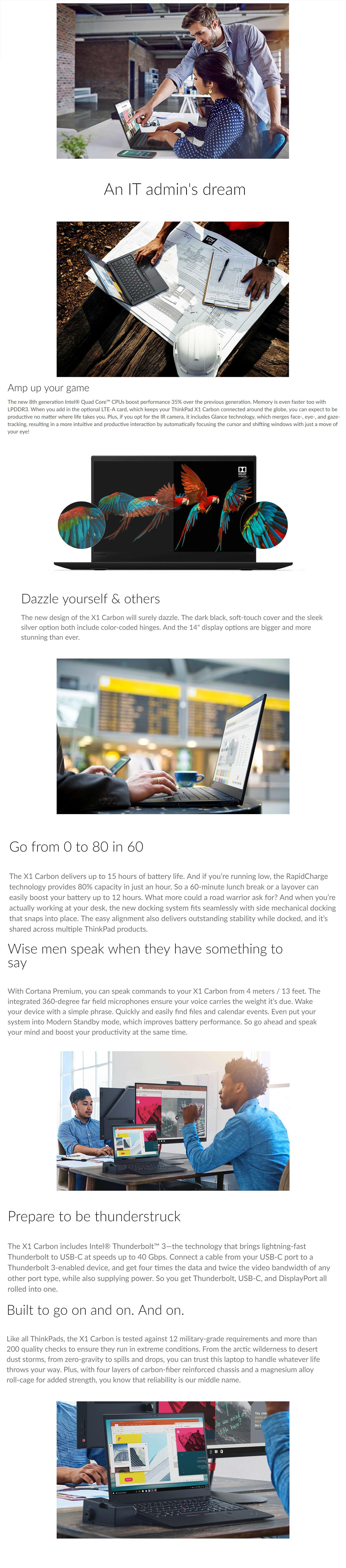 Lenovo ThinkPad X1 Carbon G6 14in FHD IPS i7 8550U 256GB SSD Laptop  (20KHS1L200)